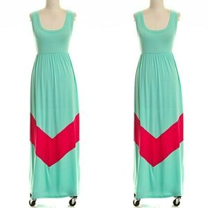 COVETED CLOTHING - mint/red chevron maxi dress